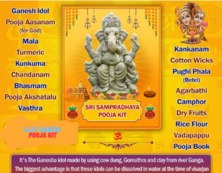 Clay Ganeshji  pooja samagri (pre order)
